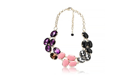 Multicolored Large Cubic Zirconia Adjustable Statement Necklace