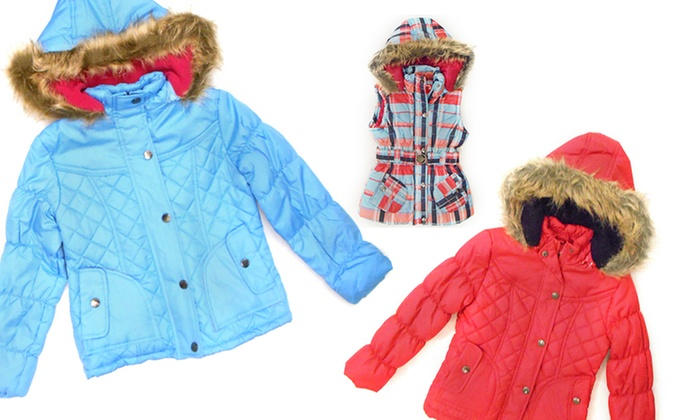 Dollhouse Girls' Bubble Vests and Quilted Jackets: Dollhouse Girls' Belted Bubble Vests and Quilted Jackets