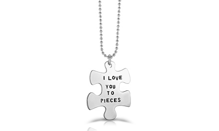 I Love You To Pieces Puzzle Necklace