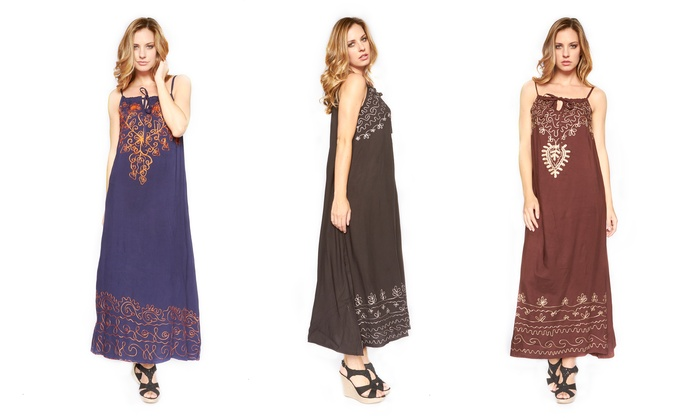 Women's Embroidered A-Line Maxi Dresses: Women's Embroidered A-Line Maxi Dresses