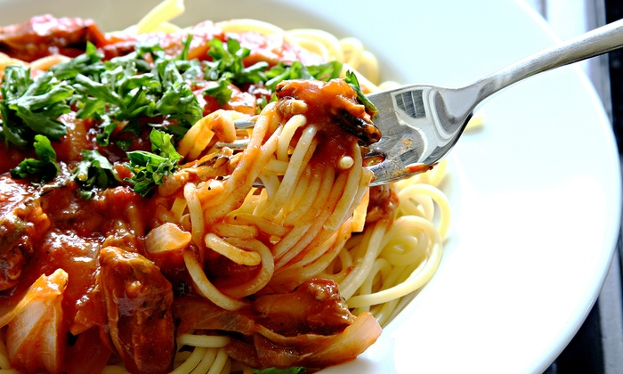 Sanfilippo's Italian Restaurant - San Diego: Spaghetti Dinner with House Wine for Two or Four at Sanfilippo's Italian Restaurant (50% Off)