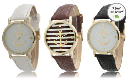 Women's Anchor Watches with Striped or Solid Dials. Multiple Colors Available. Free Returns.