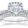 1.00 CTTW Cushion-Halo Diamond Engagement Ring Set in 10K White Gold