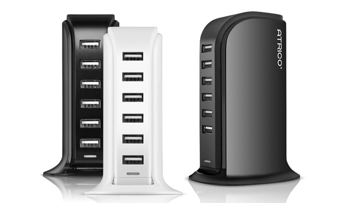 Atrico 40W/60W ETL-Certified 6-Port USB Smart Charger