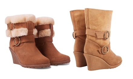 Women's Suede Fur Lined Wedge Zippy Boots for £44.99 With Free Delivery (78% Off)