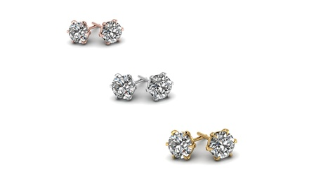 Three Pairs of Sterling Silver Swarovski Elements Stud Earrings