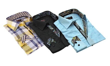 T. R. Premium Men's Jacquard Printed Dress Shirts