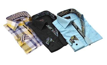 T. R. Premium Men's Jacquard Printed Dress Shirts