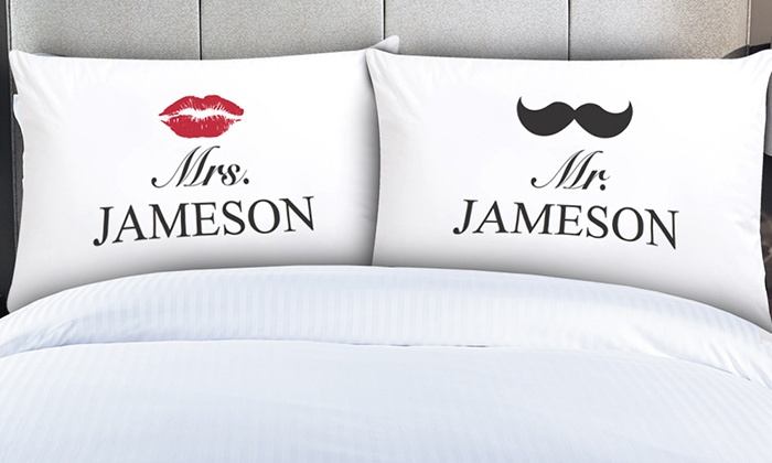 Monogram Online: $19.99 for a Pair of Personalized Couples Pillowcases from Monogram Online ($49.99 Value)