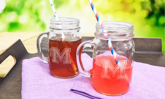 Monogram Online: $10 for a Set of Two Personalized Jar Glasses from Monogram Online ($49.99 Value)