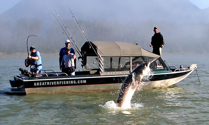 Great River Fishing Adventures - Chilliwack Proper Village West: Sturgeon-Fishing Trip for 2,Private Sturgeon-FishingTrip for 4, or Steelhead-Fishing Trip for 3(Up to 61% Off)