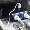 Okra 3-Socket Car Charger with Dual USB Charging