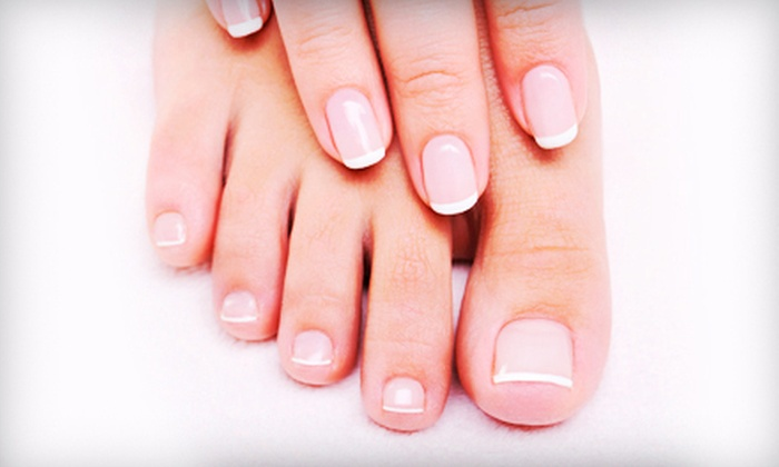 Anew Salon and Day Spa - Park: $52 for a French Mani-Pedi and High-Gloss Hair Treatment at Anew Salon and Day Spa ($105 Value)