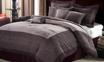 11-Piece Queen or King Embroidered Comforter Set with Sheet Set. Free Returns.