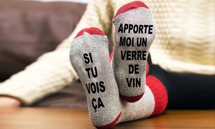 1, 2 ou 4 paires de chaussettes chaudes pour femme ''Si tu vois ça Apportes moi un verre de vin''