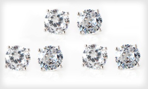 One Or Three Pairs Of 2-carat Sterling-silver Cubic Zirconia Stud Earrings (up To 96% Off)