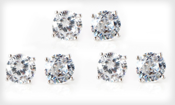 2-Carat CZ Stud Earrings: One or Three Pairs of 2-Carat Sterling-Silver CZ Stud Earrings (Up to 95% Off)
