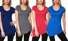 Women's Short Sleeve Jersey Asymmetrical Top: Women's Short Sleeve Jersey Asymmetrical Top