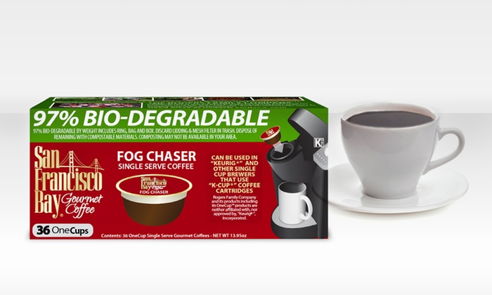 Single-Serve OneCup Fog Chaser Coffee from San Francisco Bay Coffee: 36-Count Pack of OneCup Single-Serve Fog Chaser Coffee from San Francisco Bay Coffee.