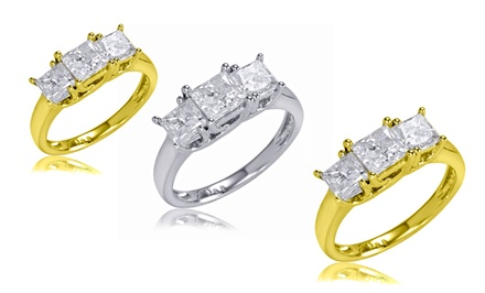 1.00 CTTW or 2.00 CTTW Certified Princess-Cut Diamond 3-Stone Ring in 14K Gold