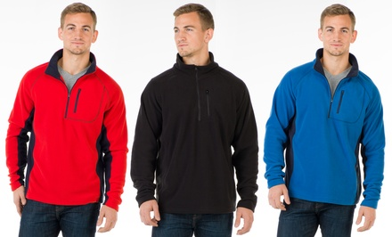 Oak & Rush Men's Quarter-Zip Fleece Pullover in Black, Red, or Royal Blue | Groupon Exclusive