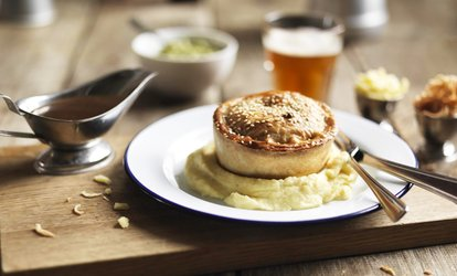 Award Winning Pie with Mash, Gravy and Pint of Beer or Glass of Wine for Two or Four at The White Lion Pub