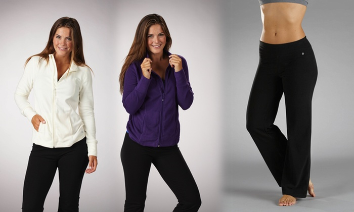 Bally Total Fitness Fleece Jacket & Pants: Bally Total Fitness Fleece Workout Mock-Neck Jacket in Black, Cream, or Purple or Fleece Workout Pants in Black
