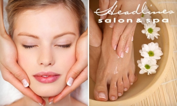 Headlines Salon Spa - Palos Heights: $45 for a Mani-Pedi and a 60-Minute Massage or Facial at Headlines Salon Spa in Palos Heights ($99 Value)