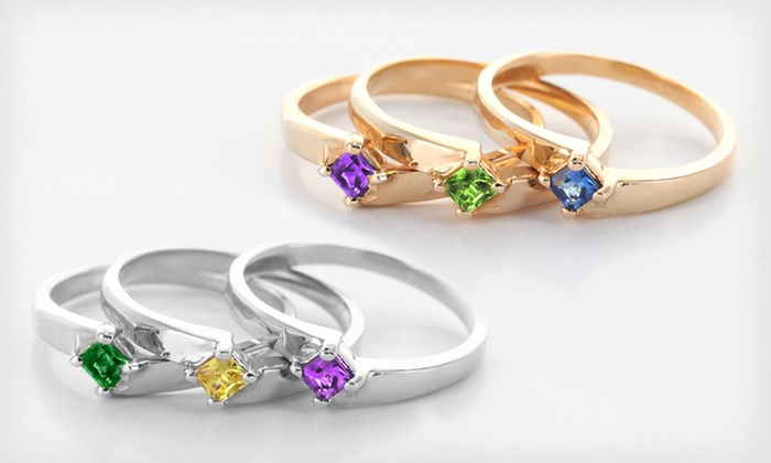 Personalized Stackable Birthstone Rings: One, Two, or Three Personalized Stackable Birthstone Rings from Monogram Online (Up to 72% Off). Free Shipping.