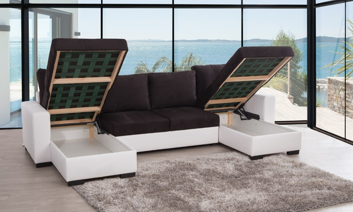 Canap d 39 angle en u convertible groupon shopping for House canape d angle