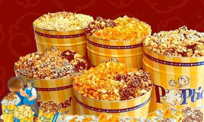 Poptions - Ladue: Gourmet-Popcorn Bags or Tins from POPtions (Half Off)