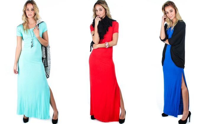 Lyss Loo Plus-Size Side-Slit Maxi Dress: Lyss Loo Plus-Size Side-Slit Maxi Dress