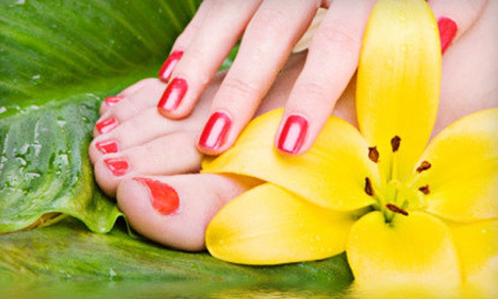 Pamper Me - Eagle River: One or Three Spa Mani-Pedis or Full Set of Gel Nails at Pamper Me in Eagle River (Up to 58% Off)