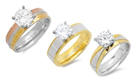 2- or 3-Tone Cubic Zirconia Engagement Rings