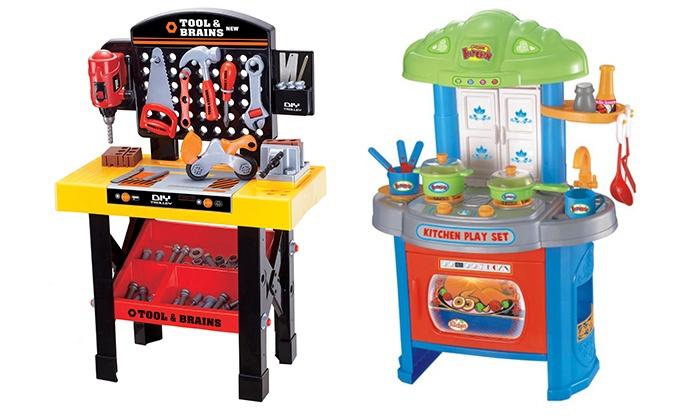 Tool shed or kitchen playset groupon goods for Kitchen set groupon