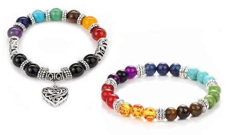 1 ou 2 bracelets Chakra, avec ou sans pendentif
