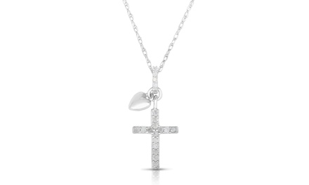 1/10 CTTW Genuine Diamond Cross with Heart Necklace in Sterling Silver