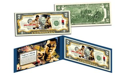 Muhammad Ali Themed Colorized Art on Genuine $2 Bill