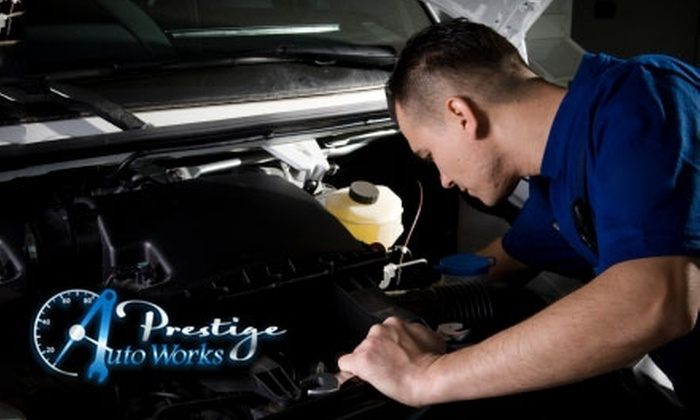 Prestige Auto Works - Parkway - South Sacramento: $26 for a Complete Oil Change and Tire Rotation ($54 Value) or $41 for Synthetic Oil Change and Tire Rotation ($69 Value) at Prestige Auto Works