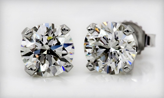 Diamond Connects: One-Third-Carat or Half-Carat Diamond Stud Earrings in 14-Karat White Gold from Diamond Connects (Up to 84% Off)