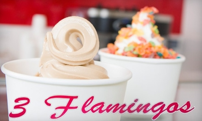 3 Flamingos - Multiple Locations: $5 for $10 Worth of Frozen Yogurt at 3 Flamingos