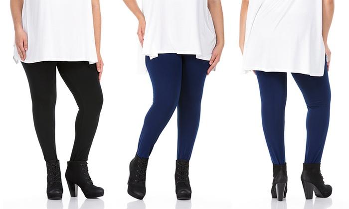102534c190791c Sociology Women's Plus-Size Fleece-Lined Leggings (One Size, 2-Pack ...