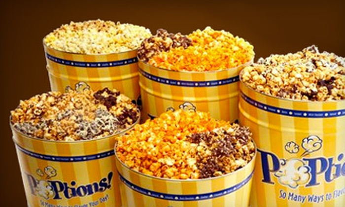 POPtions! - Ladue: Gourmet-Popcorn Bags or Tins at POPtions! (Half Off). Two Options Available.