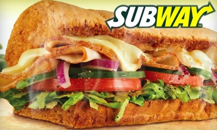 Subway - Multiple Locations: $6 for $12 Worth of Sandwiches, Salads, Drinks & More at Subway. Choose from Four Locations.