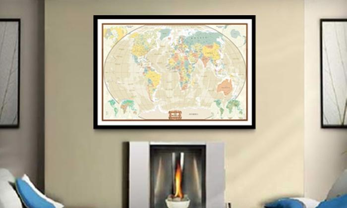 Up to 73 off unframed or framed canvas maps groupon goods up to 73 off unframed or framed canvas maps gumiabroncs Images