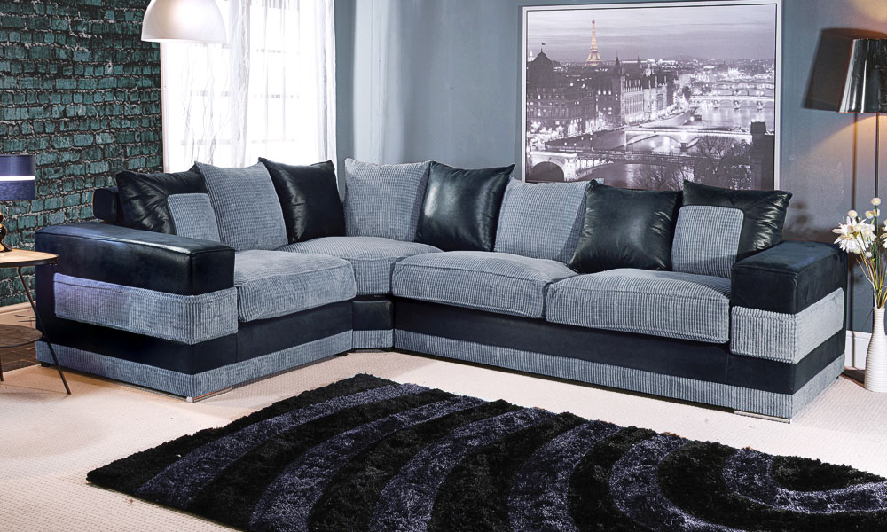 Black and grey sofa gray and black couch set sierra Groupon uk living room furniture
