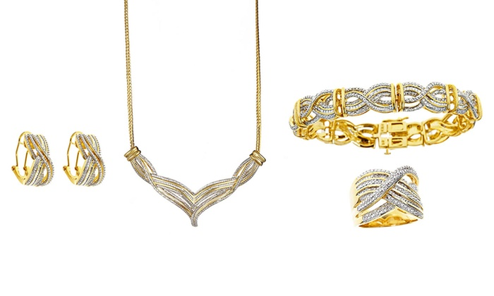1 Carat Total Weight 4-Piece Gold-Plated Diamond Jewelry Set: 1 Carat Total Weight 4-Piece Gold-Plated Diamond Jewelry Set. Free Returns.