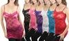 Women's Floral Lace Long Cami Top: Women's Floral Lace Long Cami Top