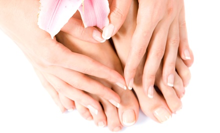 Mani-Pedi with Aromatherapy and Wine or Full Set of Solar Acrylic Nails at Red Carpet Nails (Up to 44% Off)