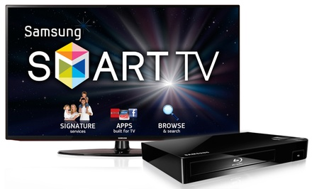 "groupon daily deal - Samsung 50"" 1080p Smart LED HDTV and Blu-ray Player Bundle"